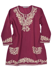KUMI Embroidered Pure Cotton Tunic, Top, Kurti