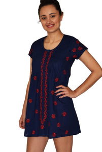 LILY Pure Cotton Hand Embroidered Long Placket Dress, Tunic, Kurti