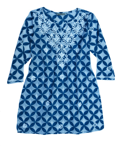 Mili Pure Cotton Printed and Hand Embroidered Tunic Top