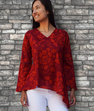 NORA Printed Soft Cotton Hand Embroidered Uneven Hem Tunic Top: Made to Order/Customizable