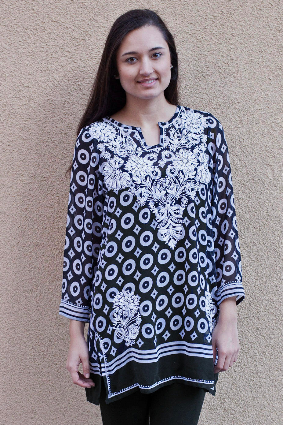 Neela Hand Embroidered Printed Polygeorgette Tunic