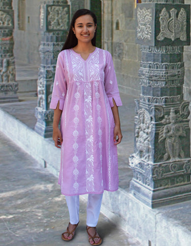 Nilsa Hand Embroidered Pure Soft Cotton Long Tunic Kurta Dress: Made to Order/Customizable