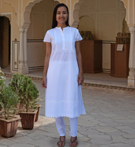 PIKU Pure Soft Cotton Pleated Pintuck Long Tunic Kurta Dress: Made to Order/Customizable