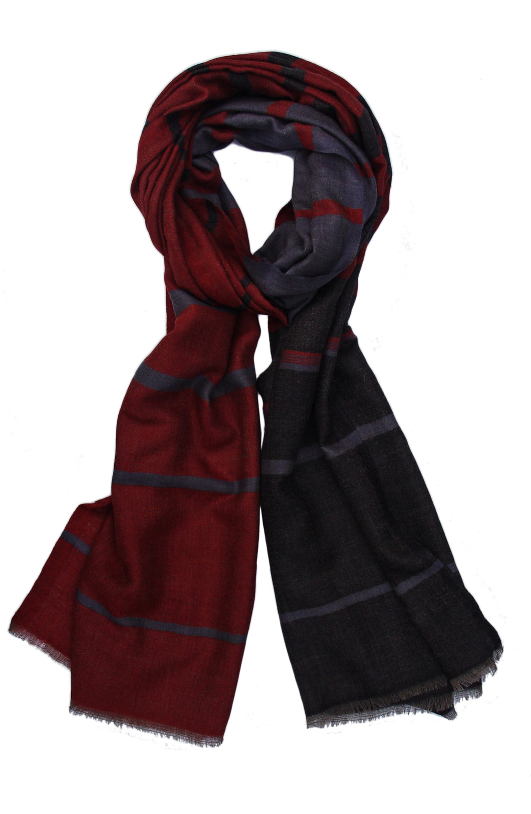 Pure Cashmere Scarf/Wrap in Stripes Pattern