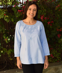 Eri Hand Embroidered Pure Cotton Short Tunic Top