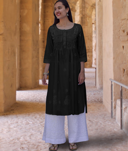 SARA Pure Cotton Hand Embroidered Long Tunic Dress Kurta: Made to Order/Customizable