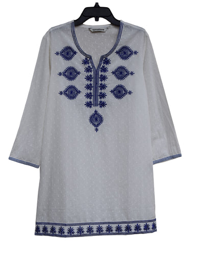 SRB Pure Cotton Self Design Embroidered Tunic, Top, Blouse