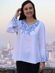 Tia Embroidered Viscose Rayon Blouse with Bell Sleeves