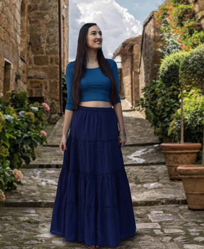 ELINA Pure Cotton Tiered Long Skirt: Made to Order, Customizable