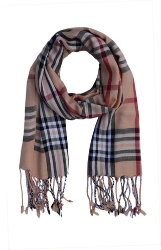 Silk Feel Viscose Rayon Checks and Stripes Scarf