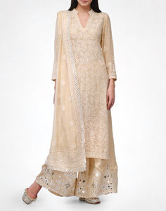 Amrita Pure Georgette Chikankari Hand Embroidered Festive Kurta Dress, Suit Set