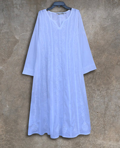 EMMA Pure Cotton Hand Embroidered Flared Tunic Dress Kurta: Made to Order/Customizable