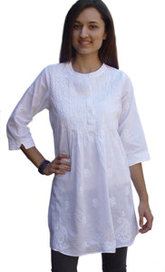 BIBA Hand Embroidered Cotton Tunic (Plus Sizes)