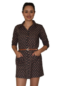 Riti Pure Cotton Hand Block Printed Shirt Dress Tunic Top