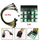 Mining Power Supply,FOOING ETH ZEC BTC 12V GPU/PSU Breakout Board + 12pcs 16AWG PCI-E 6Pin to 6+2Pin Cables 27.5Inch Length - Internal Adapters,  BetaNET Cryptocurrency Solutions