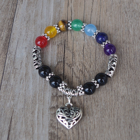 Image of Rainbow with Heart 7 Chakra Bracelet-Be Mindfulness