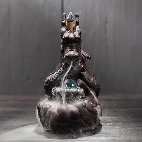Image of Dragon Incense and Cone Holder With Crystal Ball-Be Mindfulness