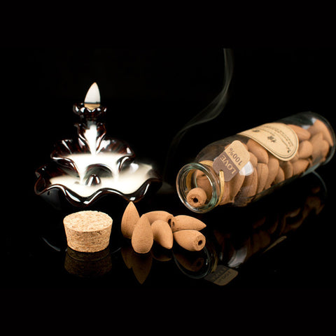 Image of Glass Bottle Natural Incense Cones with Burner