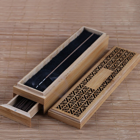 Image of Bamboo Box Incense Burner-Be Mindfulness
