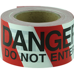Tape Barricade DO NOT ENTER black on red/white 100m