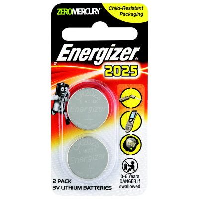 Battery Energizer Lithium Coin 3V 2025 Pk 2