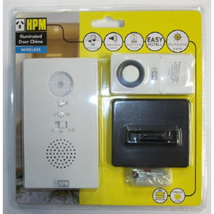HPM Wireless Door Chime with Flashing LED 100m