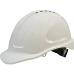 Maxiguard White Vented Hard Hat, sliplock harness