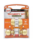 Handle Security Set Double Cylinder Polished Brass