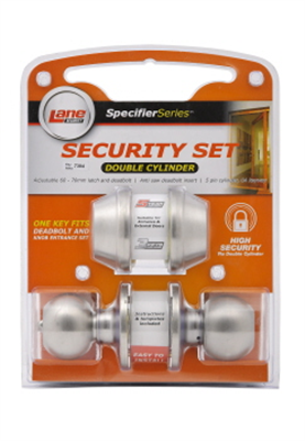 Handle Security Set Double Cylinder Satin Stainless