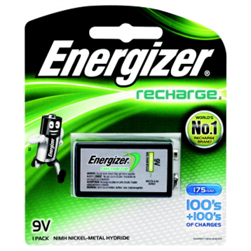 Battery Energizer Recharge 9V Pk 1