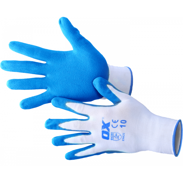 OX Gloves Polyester Lined Nitrile Safety Size 9 Large 5 Pack