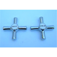 Tap Handle Cross Chrome Pair