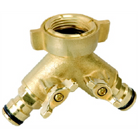 Tap Adaptor Brass Twin Click On 12mm
