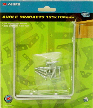 Angle Bracket 125x100mm Zinc Plated Pk2
