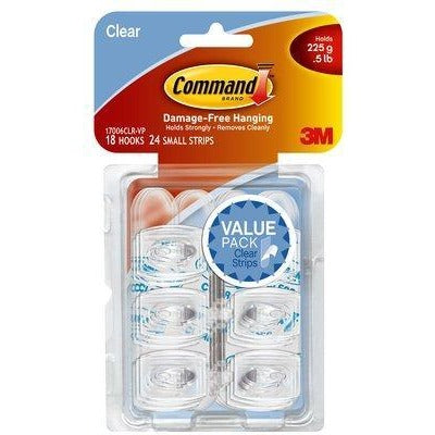 Command 3M Adhesive Hook Clear Pk18