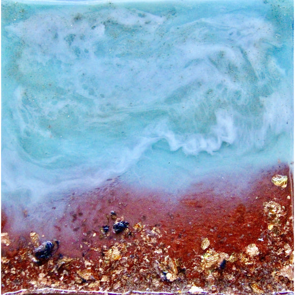 "Bring a piece of california's beatiful coastline home with ""copper beach"" by Kathryn Silvera, an original resin painting - Kathryn Silvera Art"