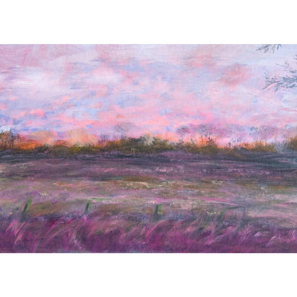 'Across the field' oil on mat board' by Kathryn Silvera - Kathryn Silvera Art