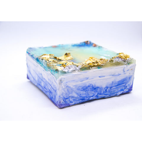 "Bring an ocean dreamscape home with ""sail bright"" by Kathryn Silvera, an original resin painting - Kathryn Silvera Art"