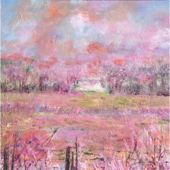 'Neighbors in pink' oil on mat board' by Kathryn Silvera - Kathryn Silvera Art