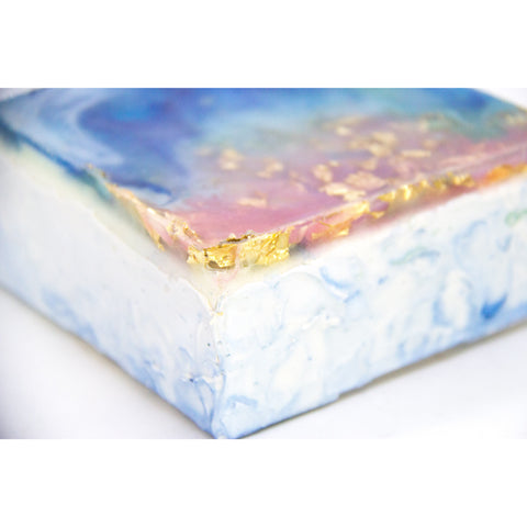 "Bring an ocean dreamscape home with ""color mist"" by Kathryn Silvera, an original resin painting - Kathryn Silvera Art"