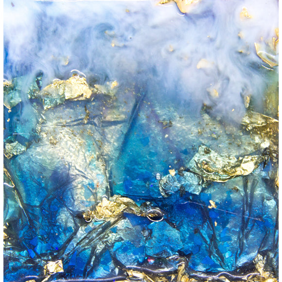 "Bring an ocean dreamscape home with ""mist fall"" by Kathryn Silvera, an original resin painting - Kathryn Silvera Art"