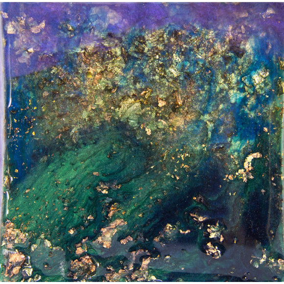 "Bring a brilliant night sky home with ""radiant scape"" by Kathryn Silvera, an original resin painting - Kathryn Silvera Art"