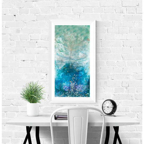 Fine Art Print - Blue Silver Flake Abstract