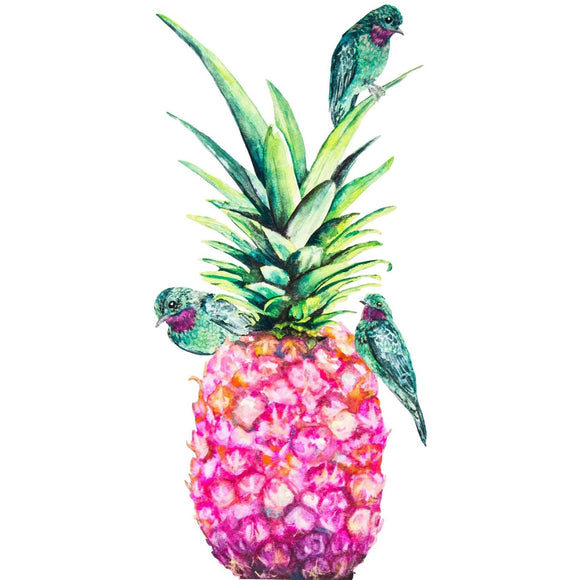 Fine Art Print - Bright Pink Pineapple Print With Birds