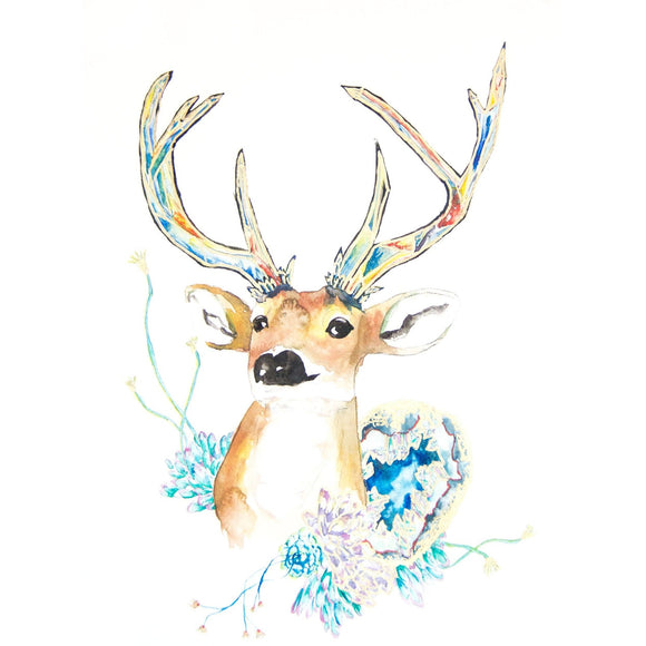 Fine Art Print - Crystal Deer Antler Head With Geodes And Succulents