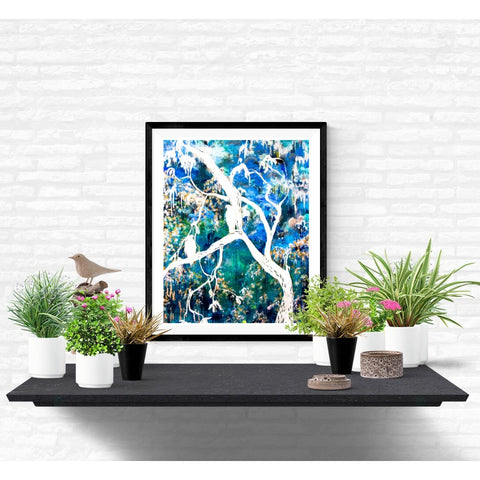 Fine Art Print - Dreamy Forest With Birds And Branches Print