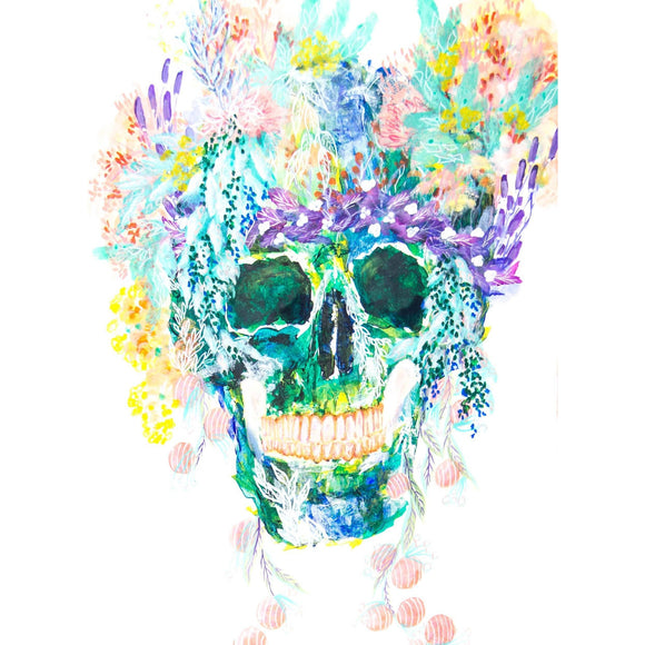 Fine Art Print - Flower Crown Happy Skull