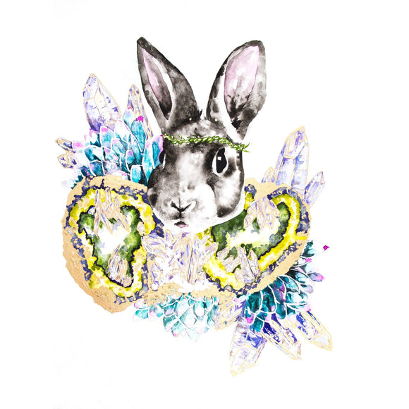 Fine Art Print - Gray Bunny With Gold Geodes And Succulents Print