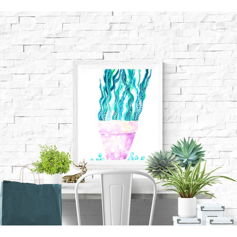 Fine Art Print - Happy Light Pink Pot With Polka Dots  Rattlesnake Plant