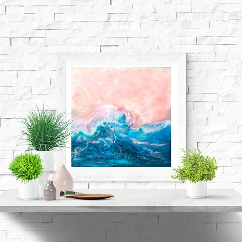 Fine Art Print - Pink Skies Mother Of Pearl Large Blue Wave